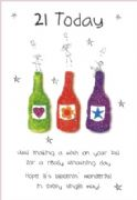 21st Birthday Card - Three Bottles